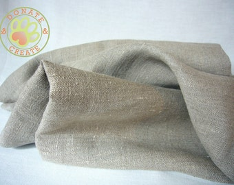 Linen assorted remnants Sale! Thick rustic linen flax out cuts for sewing projects; Homespun-like taupe natural grey soft pure linen fabric