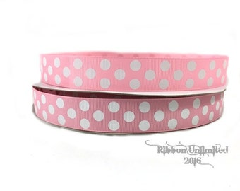 10 Yds WHOLESALE 7/8 Inch Pink-White Jumbo Polka Dot grosgrain ribbon. LOW SHIPPING Cost.