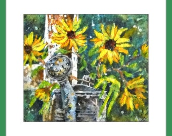 Watercolor Batik Sunflowers and Watering Can - Original Painting by Martha Kisling