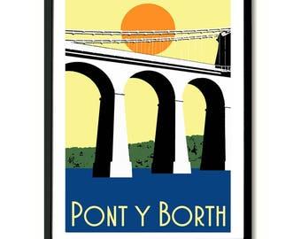Menai Bridge, Pont Y Borth, Travel Art Print