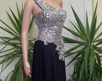 Unique - a black dress with imitation crystals - handmade model made of lycra