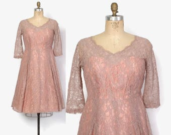 Vintage 50s LACE Dress / 1950s Dusty Mauve Pink Party Dress L
