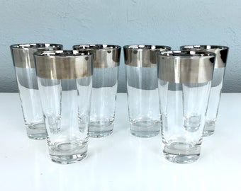 Vintage Silver Band Drinking Glasses, Set of Six, Mad Men Style Barware, Gifts for Him, Wedding Registry, Fathers Day