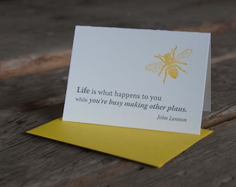 Inspiration card with John Lennon quote,  letterpress printed, eco-friendly, bee