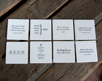 BEER Quote Coasters, mixed set of 8 (Letterpress printed, 3.5 inches), perfect gift for home brewer or beer lover