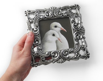White doves pair painting - ornate silver frame - wedding gift for the bride and groom -  love dove - peace doves - hollywood regency glam