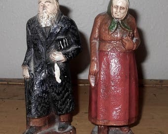 Vintage Hand Carved Wood Jewish Couple - Wood Figurines