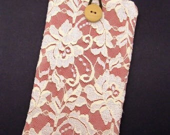 6P iPhone 7 plus sleeve, iPhone pouch, Samsung Galaxy S3, S4, Galaxy note, nexus, ipod classic touch sleeve - Lace series (241)