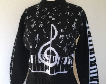 Vintage music notes piano sweater,   80s novelty sweater black white, musical notation, treble clef keyboard, 1980s knit pullover, size XS S