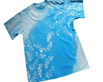 Unisex T-shirts Made-to-Order, Willow Branch Design Slanted, Bleached T-shirts, Choose color, Sizes SM - 4X