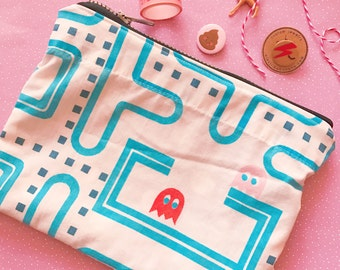 Pacman arcade game zipper clutch pouch  upcycled vintage style retro gamer girl