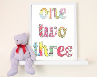 One Two Three Hand-Illustrated Children's Art Print - 8 in. x 10 in.