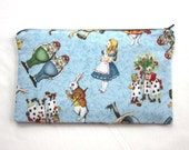 Alice on Blue Fabric Zipper Pouch / Pencil Case / Make Up Bag / Gadget Sack