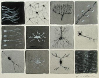 Black and White Brain Cells  - original watercolor painting - neurons