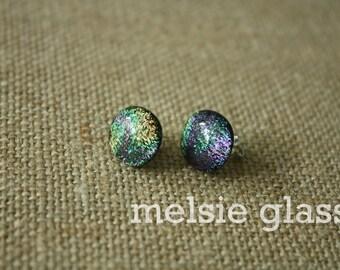 Metallic glass stud earrings - dichroic glass studs, sparkly earrings, polka dots