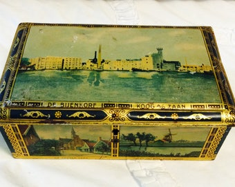 Vintage 1920s Holland Tin Container Blue Gold Hinged Lid Candy Tin Footed