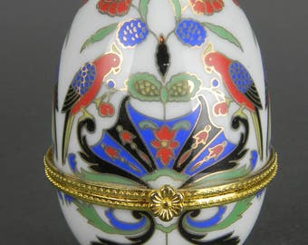 Vintage EGG TRINKET BOX Faberge Style Easter Gift   Porcelain - Footed - Floral Design - Brass Hinge - Jewelry Box