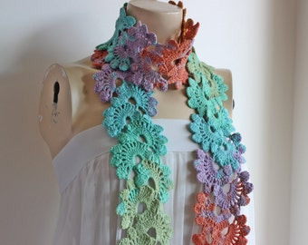 Lace Crochet Scarf-Rainbow Neckwarmer-Spring Cotton Scarf-Orange,Lilac,Turquoise,Mint,Olive Scarf-Queen Anne Scarf