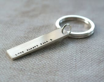 Custom hand stamped Sterling silver keyring with personalised wording gift for him