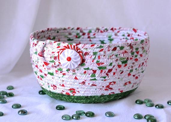 Christmas Bowl, FREE Shipping... Homemade Christmas Gift Basket, Holiday Decoration,  Holiday Table Decor, Handmade Coiled Basket
