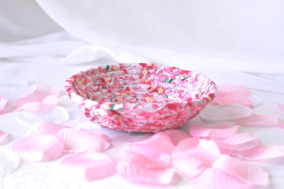 Shabby Chic Floral Basket, Handmade Pink Bowl, Pink Floral Candy Dish, Makeup Organizer, Cute Desk Accessory Basket