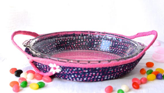 Pie Plate Basket, Pie Cozy, Handmade Pink Basket, Pie Carrier, Dessert Caddy, Modern Bread Basket, Birthday Party Decoration