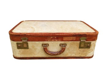Tweed Vintage Suitcase with Leather Trim //  Medium Luggage // Rust Interior