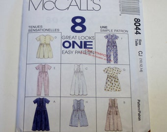 McCall's 8044: Children's and Girls' Dress, Jumpsuit and Romper Sizes 10,12,14 UNCUT
