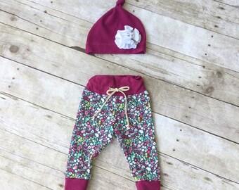Baby Drawstring Leggings and Knot Hat Gift Set - Coming Home Set - Infant Leggings