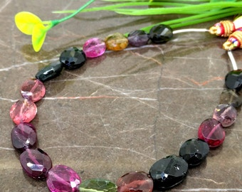 Natural Multi Tourmaline 10-13mm Faceted Oval Gemstone Beads / Approx 19 pieces on 14 Inch long strand / JBC-ET-BMTR020