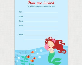 Mermaid Birthday Party Under the Sea - Printable Birthday party invite - DIY Fill In Birthday Invitation - Digital download