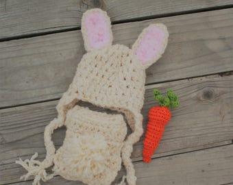 Bunny Hat and Cover Set - Bunny Photo Prop Set - Easter Newborn Bunny Outfit, Baby Shower Gift - Baby Bunny Costume - by JoJo's Bootique