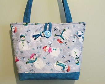 Quilted Snowmen Purse/Tote, Christmas Purse/Tote