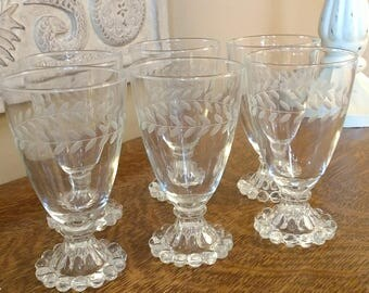 Vintage Anchor Hocking Boopie Berwick Glasses Etched Design Set of Six