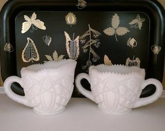 Milk Glass Cream and Sugar Set by McKee Glass