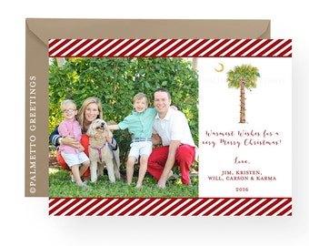 Beach Christmas Cards, Palm Tree Christmas Cards, Coastal Christmas Watercolor Palm Tree with Christmas Lights South Carolina