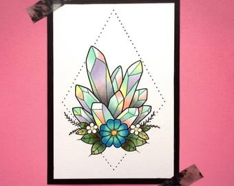 ORIGINAL ARTWORK Geometric Pastel Floral Crystals Tattoo Flash by Michelle Kent