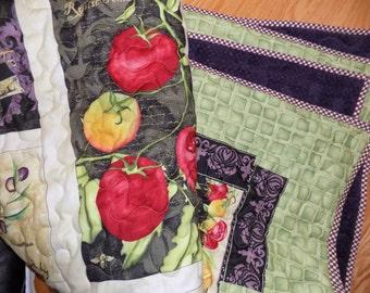 Vegetable Garden handmade lap quilt 55 x 72