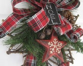 Christmas Wreath, Hostess Gift Wreath, Rustic Maple Leaf Wreath, Country Christmas Decoration, Winter Wreath, Front Door Wreath