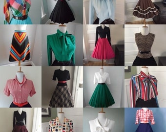 SALE 1950s 1960s Wholesale BULK Vintage Button Down Long Short Sleeve Blouse Lot Ascot Tie Neck Skirt Lot ANY 10 for 95