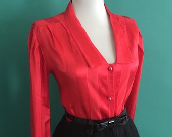 Flirty Vintage 1950s 1960s Atomic Red Striped Print Long Sleeve Button Down Blouse