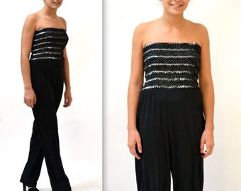 ON SALE 70s Vintage Metallic Sequin Black Jumpsuit size Small Medium // 70s Vintage Sequin Jumpsuit Black and Silver Size Small Medium