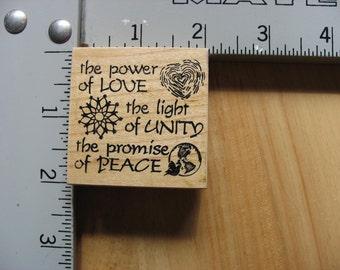 Handprints Love Unity Peace DESTASH Rubber Stamp, Used Rubberstamp