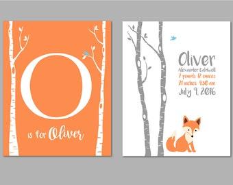 Fox Nursery Decor, Birthdate Print, Woodland Nursery, Fox Nursery, Forest Nursery Art, Baby Boy Nursery, Forest Nursery, Set of two 8x10s