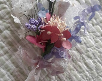 mini BOUQUET tussie mussie vintage millinery cloth flowers 12 stems varigated ribbon