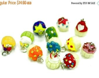 Miniature Cupcakes Polymer Clay Foods Supplies for Beaded Jewelry Charm 12 pcs