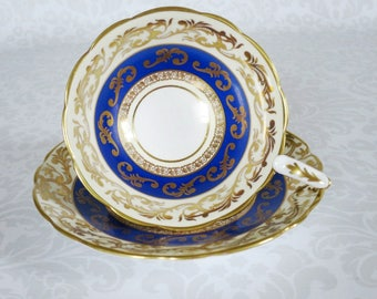 Vintage Tea Cup and Saucer, Vintage Royal Blue w Gold Chintz Teacup and Saucer Set, Vintage Royal Stafford Tea Cup SwirlingOrange11