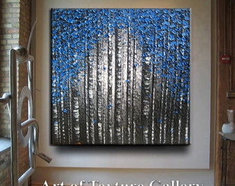 Huge Original Abstract Texture Modern Impasto Oil Blue Gray Black Charcoal Birch Tree Sculpture Knife Oil Painting by Je Hlobik