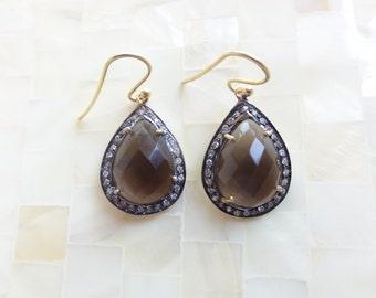 Faceted Smoky Quartz & Cubic Zirconia Pave Vermeil Pear Shaped Drop Dangle Earrings (E1263)