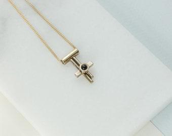 Onyx and Bronze Single Bezel Tiny Dancer Necklace